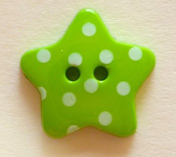 Pack of 5 - 18mm Polka Dot Star Buttons - Green