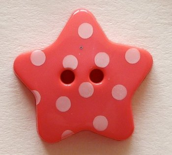 Pack of 5 -18mm Polka Dot Star Buttons - Coral Pink