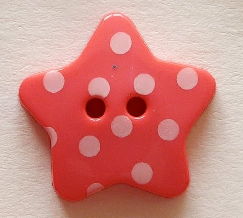 18mm Polka Dot Star Buttons - Pink
