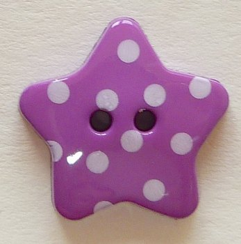 Pack of 5 - 18mm Polka Dot Star Buttons - Purple