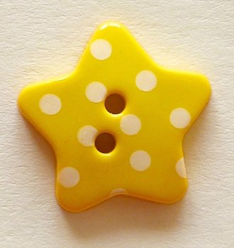 Pack of 5 - 18mm Polka Dot Star Buttons - Yellow