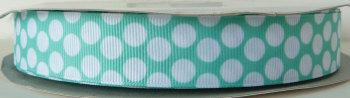 22mm Large Polka Dot Grosgrain Ribbon - Mint