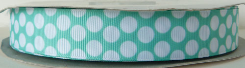 22mm Polka Dot Grosgrain Ribbon - Mint