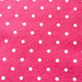 Large Polka Dot Wool Blend Felt Mini Roll - Bright Pink
