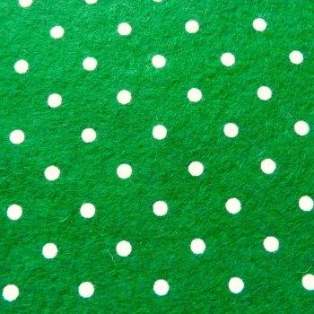 Large Polka Dot Wool Blend Felt Mini Roll - Forest Green