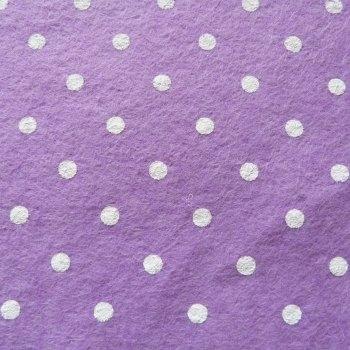 Large Polka Dot Wool Blend Felt Mini Roll - Lilac