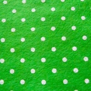 Large Polka Dot Wool Blend Felt Mini Roll - Lime Green