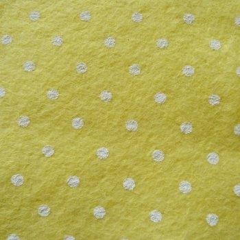 Large Polka Dot Wool Blend Felt Mini Roll - Pastel Yellow