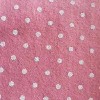 Large Polka Dot Wool Blend Felt Mini Roll - Pink