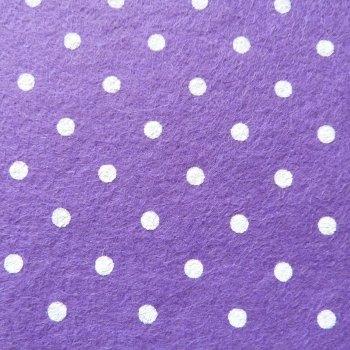Large Polka Dot Wool Blend Felt Mini Roll - Purple