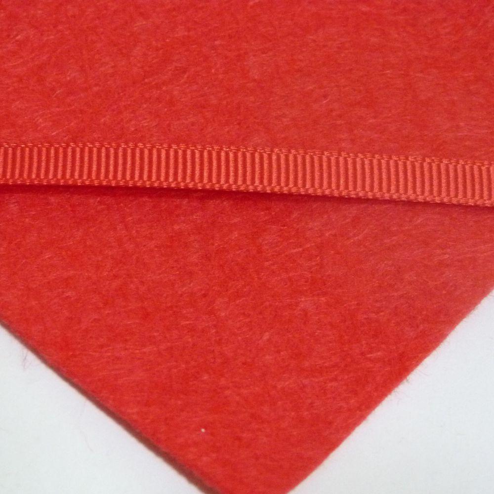 6mm Plain Grosgrain Ribbon - Bright Red