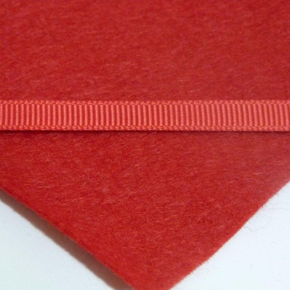 6mm Plain Grosgrain Ribbon - Red
