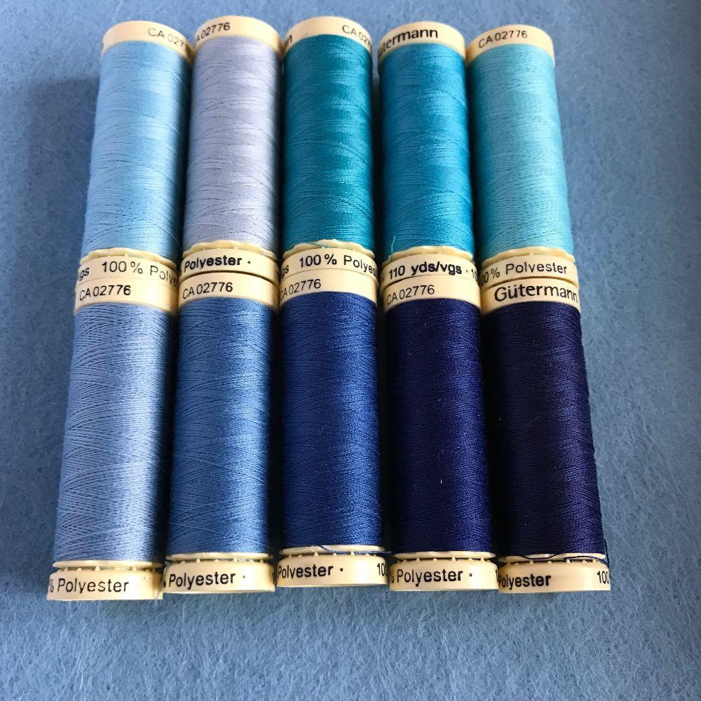 Gutermann Sewing Thread - Blue Shades