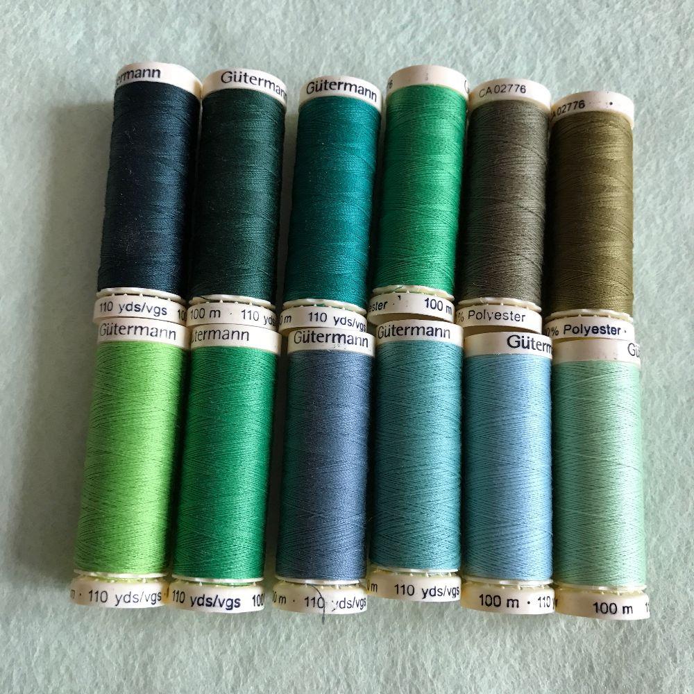 Gutermann Sewing Thread - Green Shades