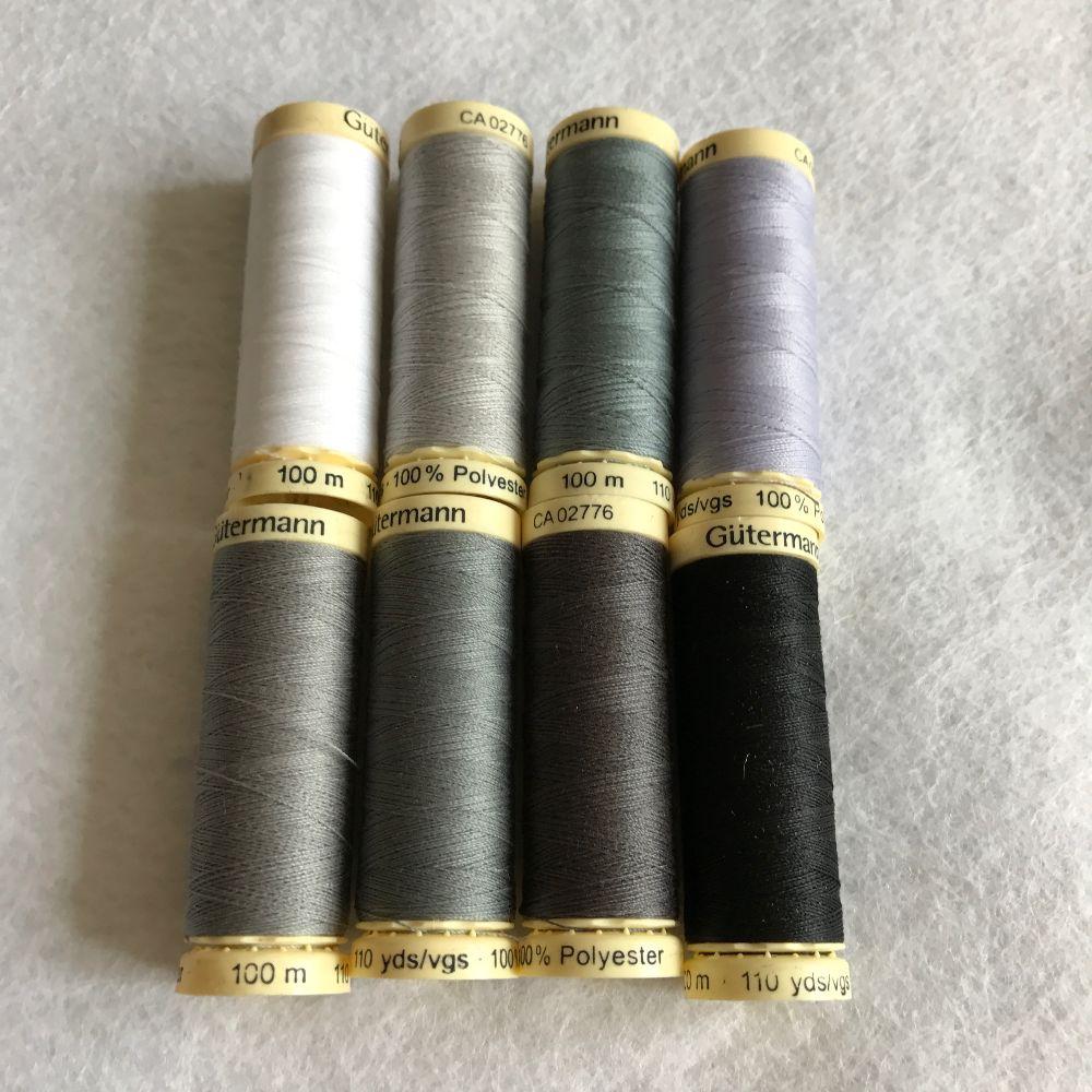 Gutermann Sewing Thread - Grey Shades