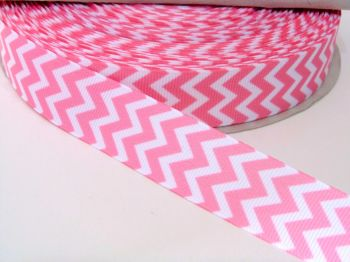 22mm Chevron Grosgrain Ribbon - Light Pink