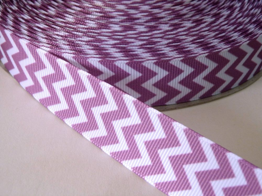 22mm Chevron Grosgrain Ribbon - Lilac