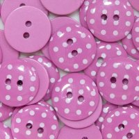 Pack of 10 - 15mm Polka Dot Button - Bright Pink