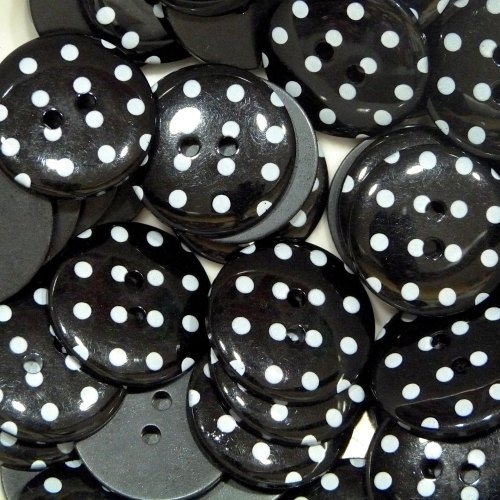 18mm Polka Dot Button - Black