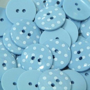Pack of 10 - 18mm Polka Dot Button - Light Blue