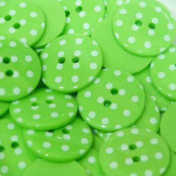 Pack of 10 - 18mm Polka Dot Button - Lime Green