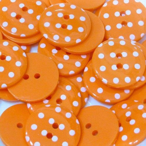 18mm Polka Dot Button - Orange