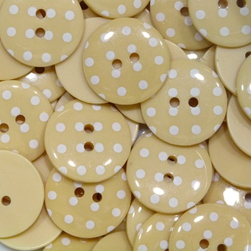 18mm Polka Dot Button - Pale Yellow