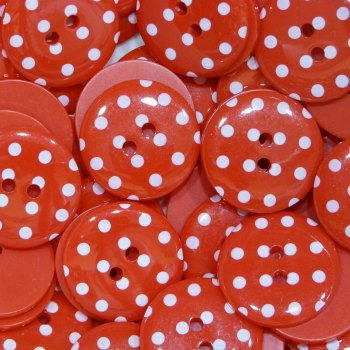 Pack of 10 - 18mm Polka Dot Button - Red