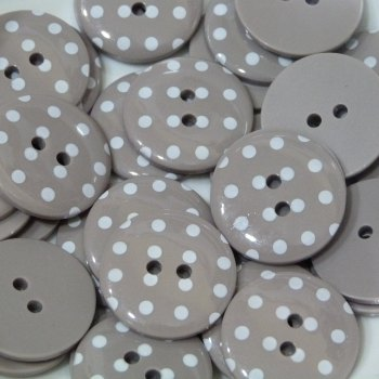 Pack of 10 - 18mm Polka Dot Button - Taupe