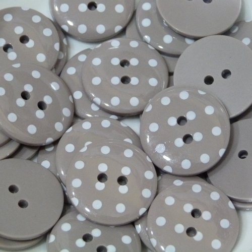 18mm Polka Dot Button - Taupe