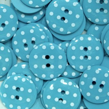 Pack of 10 - 18mm Polka Dot Button - Turquoise