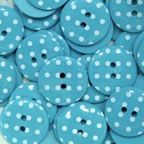 18mm Polka Dot Button - Turquoise