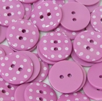 Pack of 5 - 23mm Polka Dot Button - Bright Pink