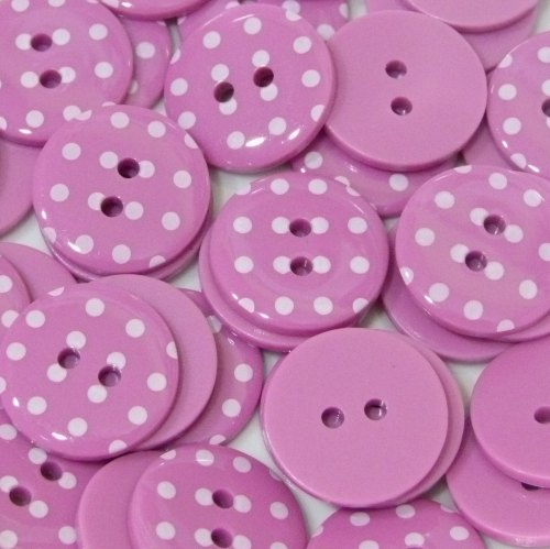 23mm Polka Dot Button - Bright Pink