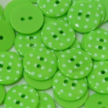 Pack of 5 - 23mm Polka Dot Button - Lime Green