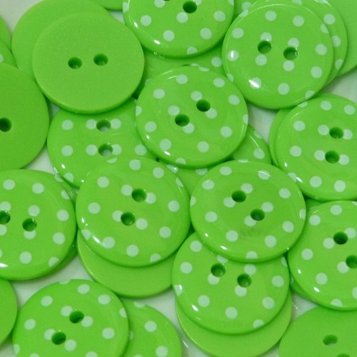 23mm Polka Dot Button - Lime Green