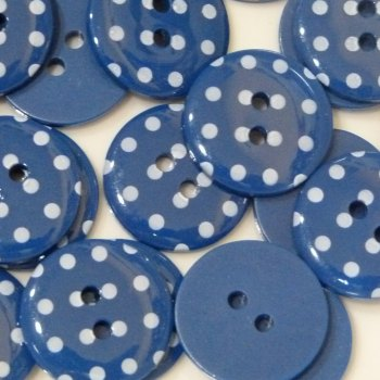 Pack of 5 - 23mm Polka Dot Button - Navy Blue