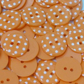 Pack of 5 - 23mm Polka Dot Button - Orange