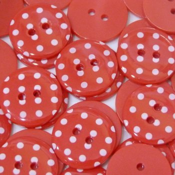 Pack of 5 - 23mm Polka Dot Button - Red