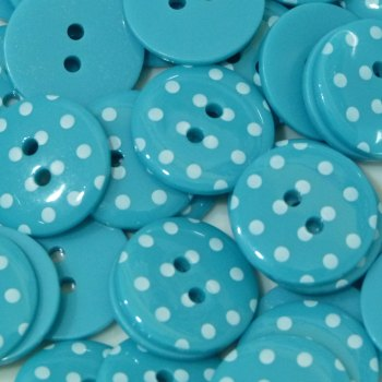 Pack of 5 - 23mm Polka Dot Button - Turquoise