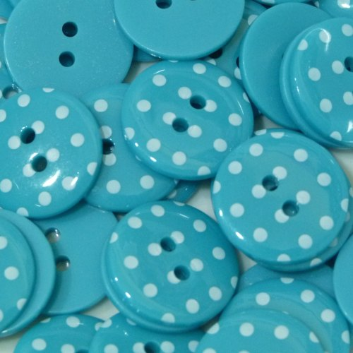 23mm Polka Dot Button - Turquoise