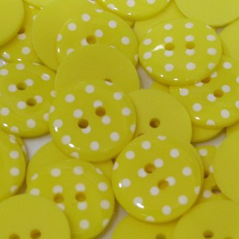 Pack of 5 - 23mm Polka Dot Button - Yellow
