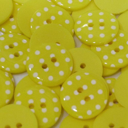 23mm Polka Dot Button - Yellow