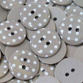 Pack of 5 - 23mm Polka Dot Button -Taupe