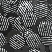 Pack of 10 - 15mm Stripe Buttons - Black