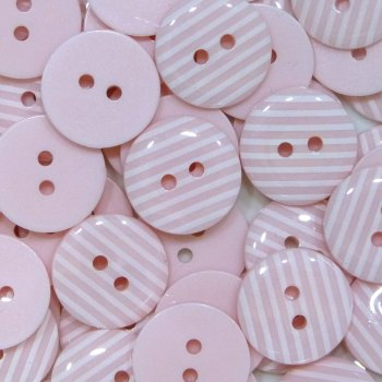 Pack of 10 - 15mm Stripe Buttons - Light Pink