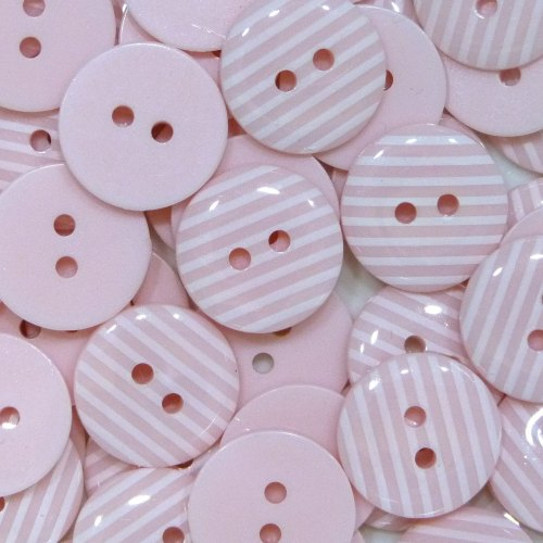 15mm Stripe Buttons - Light Pink