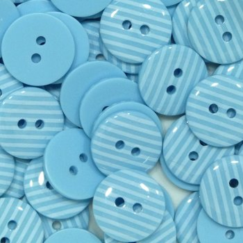 Pack of 10 - 15mm Stripe Buttons - Light Blue