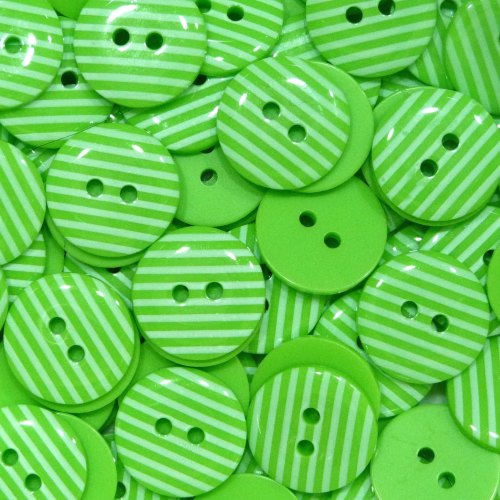 15mm Stripe Buttons - Lime Green