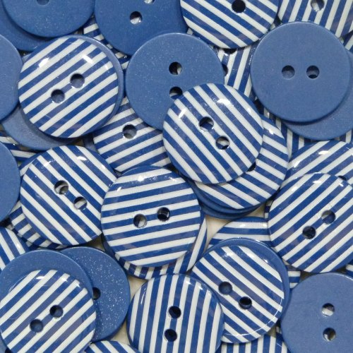 15mm Stripe Buttons - Navy Blue